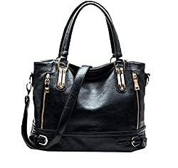 Di Grazia Sequined Italy Leather Women Satchel Handbag (Black,Black-Cp-Big-Leather-Bag)