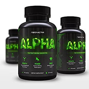 #1 Testosterone Booster - Alpha by Neovicta - Male Enhancement Supplement to Increase Size, Energy, Strength & Libido - All Natural Pills - A Safe, Professional Strength Anabolic Complex - Delivers Anti-Estrogens and Aids Liver and Kidney Function - 30 Day Supply - Money Back Guarantee