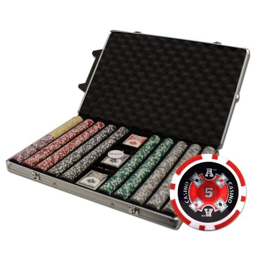 Brybelly 1000-Count Ace Casino Poker Chip Set in Rolling Aluminum Case, 14gm