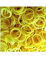 Rainbow Loom Bands - Lot de 300 élastiques en silicone jaune, 1 crochet et 12 fermoirs pour Loom Bands