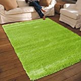 NEW THICK MODERN SHAGGY APOLLO RUG GREEN