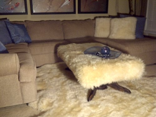 Coffee Table/large Ottoman Hand Made with Sheepskin Top