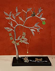 Zoohu Silver Sculpted Jewelry Tree - Metal Necklace Holder / Jewelry Organizer / Jewelry Holder / Jewelry Display