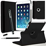 GBOS® New iPad Mini 360 Degree Rotating Smart Leather Wallet Flip Stand Case Cover With Full Sleep Wake Comatibility+ Stlus Pen + Screen Protector + Polising Cloth (Black)