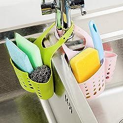 Kitchen Sink Caddy Sponge Storage Hanging Basket Adjustable Snap Button Type Drain Rack Faucet Storage Bag Storage Baskets Tool (Assorted Color)