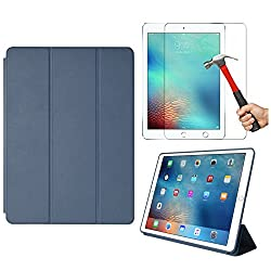DMG Smart Case Cover for Apple iPad Pro 9.7 inch/Pro 2 with Auto Sleep/Wake Function, Slim-Fit, PU Leather + Tempered Glass Screen Protector (Pebble Blue)