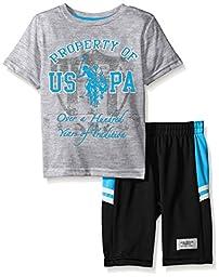 U.S. Polo Assn. Boys\' T-Shirt and Mesh Athletic Short, Teal Blue, 5/6