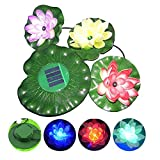 GRDE™ Solar Power Color Changing Floating LED Lotus Light Flower Lamp Floating Pond Garden Pool Nightlight Floating Pond Garden Pool Flower Light Lamp