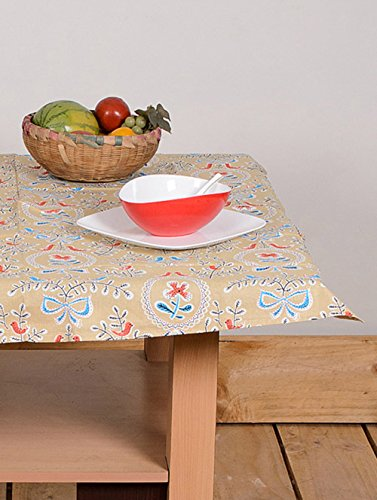 Indian Table Cover Flower Table Cloth 55 By 55 Inches 100% Cotton White Color