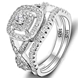 EVER FAITH® 925 Sterling Silver Elegant Full Pave CZ Wedding Engagement Ring Set Clear Size 7