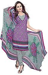 Jinal Fashion women's crepe dress material (Purple_color)
