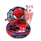 [HSB Bundle+] Lexibook Spider-Man Projector Alarm Clock with Radio with C7 Mini Pocket LED Projection Clock