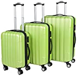 Vojagor TRSE06 Set of 3 Hard Shell Suitcases DIFFERENT COLOURS (Green)
