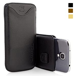 Snugg Galaxy S4 Leather Case in Black - Pouch with Card Slot, Elastic Pull Strap and Premium Nubuck Fibre Interior for the Samsung Galaxy S4 With Free Set of Screen Protectors (see promotions below)