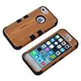 iPhone 5S Phone Case, Vogue Shop 3 in 1 Plastic Hard Imitation Wood Design with Option Silicone Soft Hybrid Three Layer Elegant Imitation Wood Plastics Design Pc+ Silicone Hybrid High Impact Defender Case Combo Hard Soft Cases Covers Scratchproof Dustproof Shockproof Durable Hybrid High Impact Cover iPhone 5S Case (black)