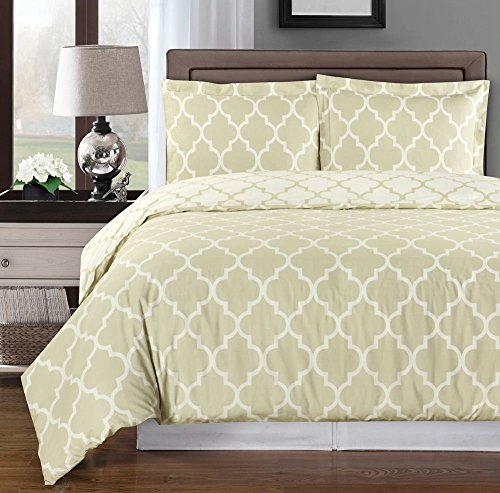 Beige and Ivory Meridian Twin / Twin XL 2-piece Duvet-Cover-Set, 100 % Cotton 300 TC (Hotel Bedding Twin compare prices)