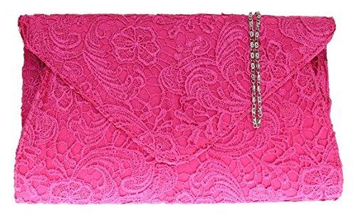 Lace Clutch raso delle signore Borsa oversize Womens sera catena Eventi Moda spalla - Fuchsia