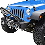 GSI Jeep JK Wrangler Black Stinger Front Bumper with Winch Plate and Jeep JK D-Rings