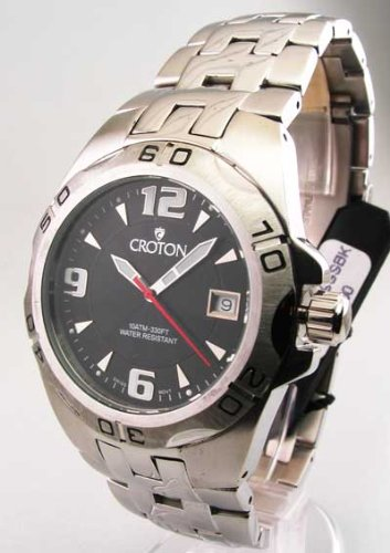 Mens Croton Steel Swiss 10 Atm Date Watch CA301149SSBK