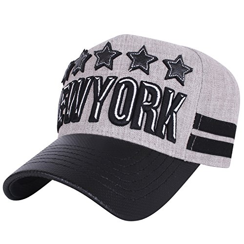 Ililily New York Embroidered Patch Fitted Precurved Hat Baseball Cap (Ballcap-859-1)