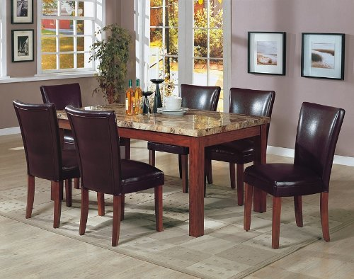 7PCS Granite Top Dining Table & 6 Brown Parson Chairs Set