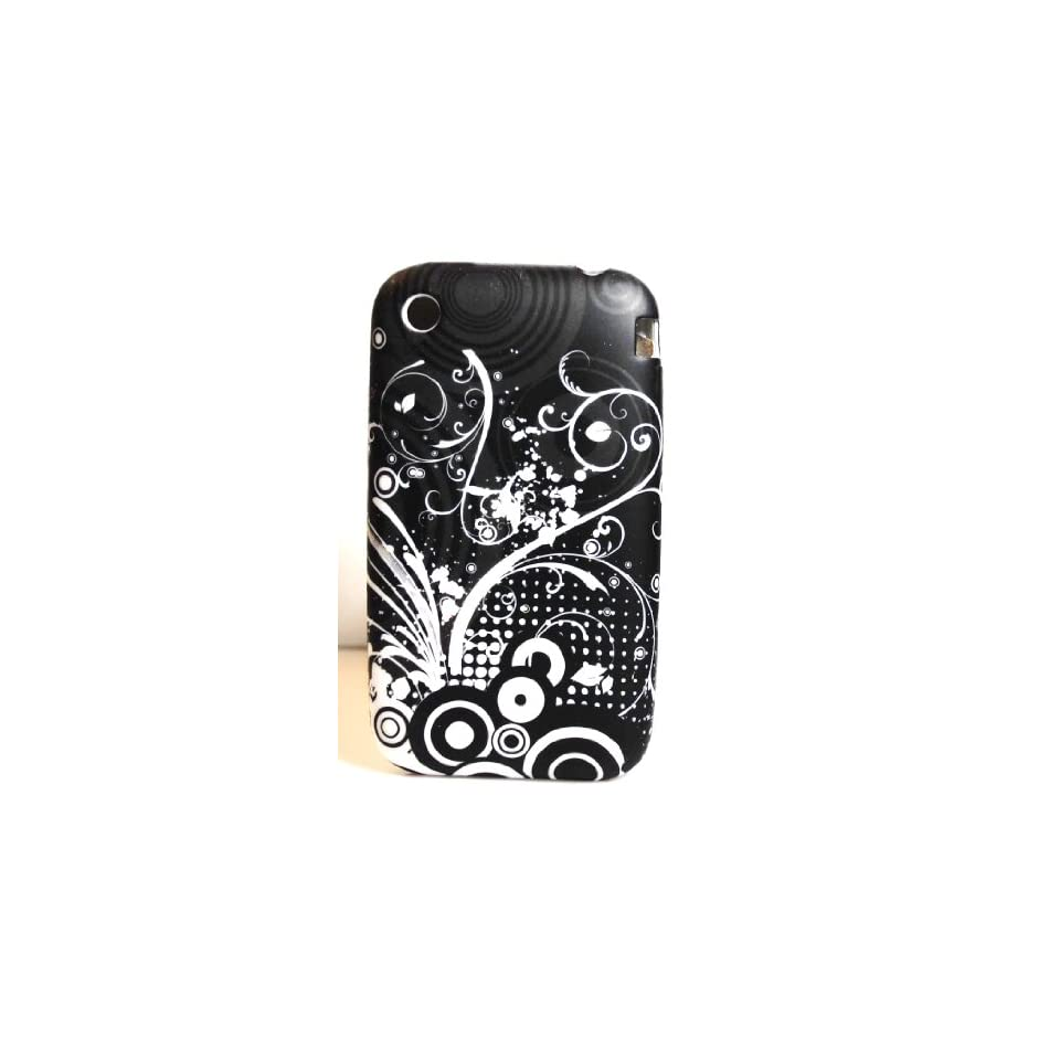 Black with White Flower Garden Soft Silicone Skin Gel Cover Case for Apple Iphone 3G / 3Gs