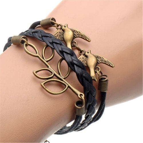 HUMASOL Womens Retro Knit Charm Leather Suede Wrap Bracelet Gift image