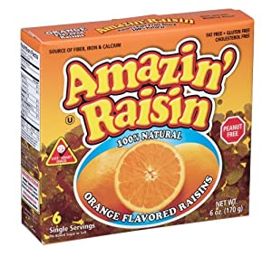 Amazin' Raisin Orange Flavored Raisins, 6-Count Boxes (Pack of 12)
