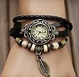 エスニック レザー ブレスレット 時計 どんな服にも良く合うデザイン (ダークブラウン:ブラック系)