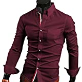 【 スマイズ スマイル 】 Smaids×Smile メンズ 長袖 Yシャツ スリム 襟 付き 柄 ドレス シャツ (レッド XL)