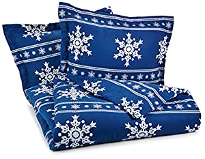 Pinzon Lightweight Cotton Flannel Duvet Set - King, Snowflake Cadet Blue