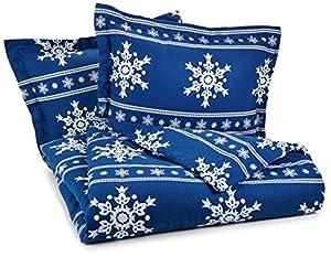 Pinzon Lightweight Cotton Flannel Duvet Set - King, Snowflake Cadet Blue