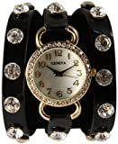 WHOLESALE: 4 for $40.Just In Black Wrap Around Watch with Sparkly White Rhinestones and Studs