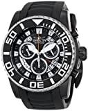 Invicta Pro Diver Swiss Made Men's Quartz Watch with Black Dial Chronograph Display and Black PU Strap in Black Plated Stainless Steel Case 14677