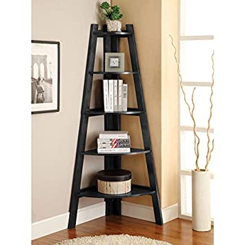 Lyss 5-Tier Corner Ladder Bookcase Shelf in Black Finish