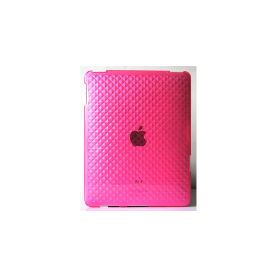 Pink Diamond Wave Premium Crystal Candy TPU Silicone Skin Case for Apple Ipad + Precut LCD Screen Protector
