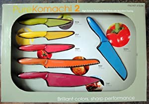 Kai Pure Komachi 2 Set of 6 Very Sharp Kitchen Knives - High Carbon Stainless Steel Blade with Non Stick Coating