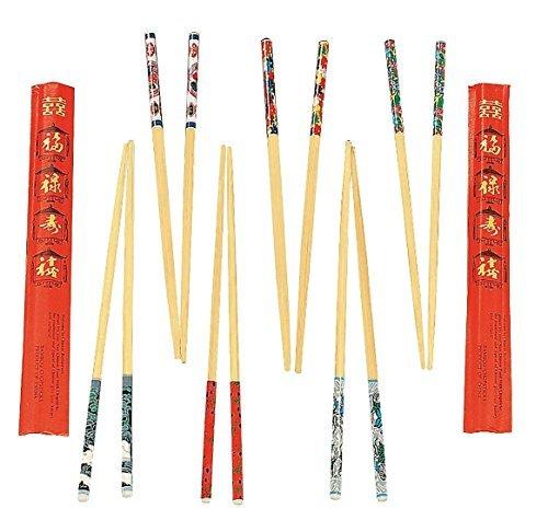 """Fun Express Wooden Decorated Chopsticks (24 Pack), 9"""""""