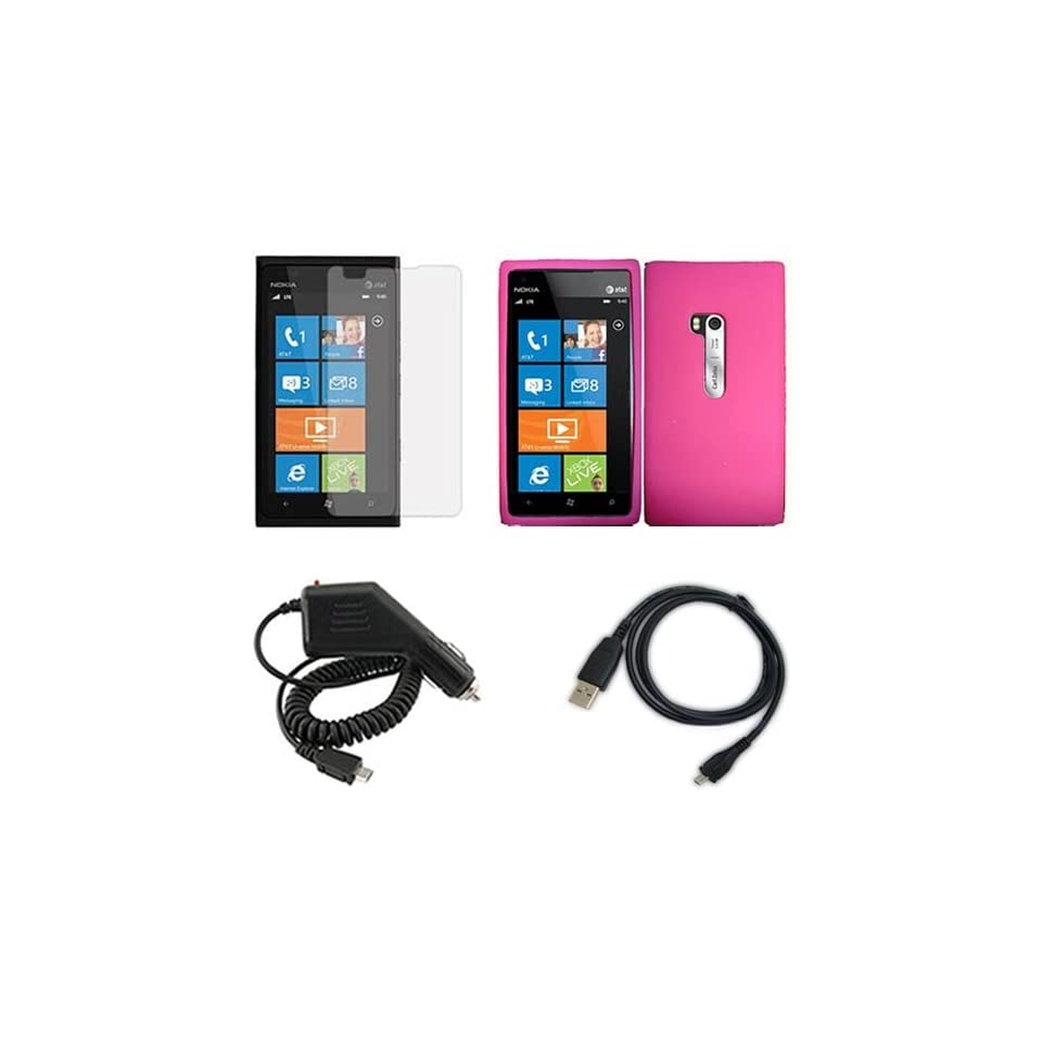 iFase Brand Nokia Lumia 900 Combo Solid Hot Pink Silicon Skin Case Faceplate Cover + LCD Screen Protector + Rapid Car Charger + USB Data Charge Sync Cable for Nokia Lumia 900