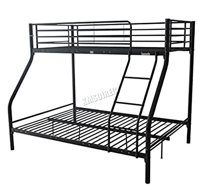 FoxHunter New Black Metal Triple Children Sleeper Bunk Bed Frame No Mattress Double Bed Base Single On Top
