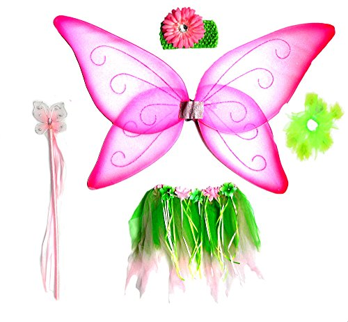 3 Pc Pink and Green Fairy Wing, Ribbon Tutu Set with Flower Halo