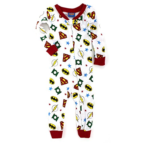 Justice League Baby Sleep N Play Cotton Sleeper (18M, White Justice League Logos)