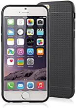 [Apple New iPhone 6 (4.7) Case] iXCC ® MX Pilot Series [Classy Fashion] Premium TPU Slim Fit Case, [Anti-Slip, Anti-Fall, Anti-Shock] Non Slip Rubber Bumper Protective Case, Shock Resistant, Back Cover with Screen Protector for iPhone 6 (4.7-inch) - Verizon, AT&T, Sprint, T-Mobile, International, and Unlocked [Black]