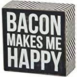 Primitives By Kathy Square Box Sign, 4-Inch, Bacon