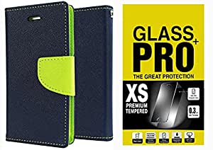 Moblo Flip Cover(Blue Green) & Tempered Glass For Micromax A120 Canvas 2