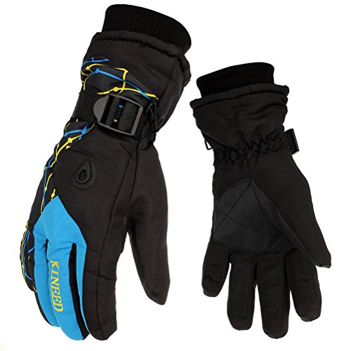 HEYFIT Waterproof Warm Skiing Gloves Windproof Non-slip Wear-resisting Winter Gloves Cold-proof Comfortable for Motorcycle Cycling Biking and Mountaineering for Men and Women (Blue, Male)