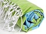 Turkish Peshtemal in Turquoise and Pistachio Green Colorful Bath Towel Turkish Hamam Pestemal for Spa