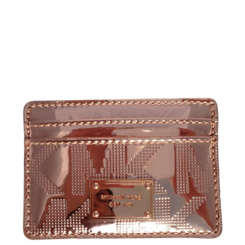 Michael Michael Kors Signature Mirror Metallic Card Case Rose Gold