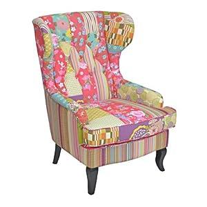 ohrensessel mit bezug stoff bunt patchwork modell. Black Bedroom Furniture Sets. Home Design Ideas