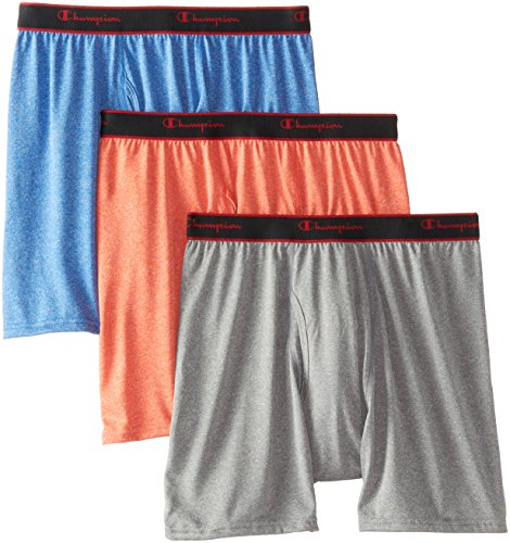 Champion Men's 3 Pack Active Performance Regular Leg Boxer Briefs, Poinciana/Athens Blue/Gargoyle Heathers, Medium